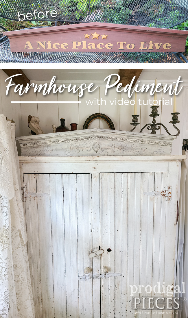 Box store decor made into farmhouse pediment with DIY video tutorial by Larissa of Prodigal Pieces | prodigalpieces.com #prodigalpieces #farmhouse #diy #home #homedecor #vintage #antique