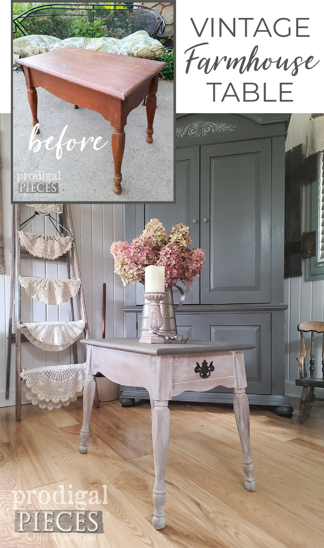A vintage farmhouse table just needs a little bit of makeover love to make it new. Come see at Prodigal Pieces | prodigalpieces.com #prodigalpieces #farmhouse #diy #home #vintage #furniture