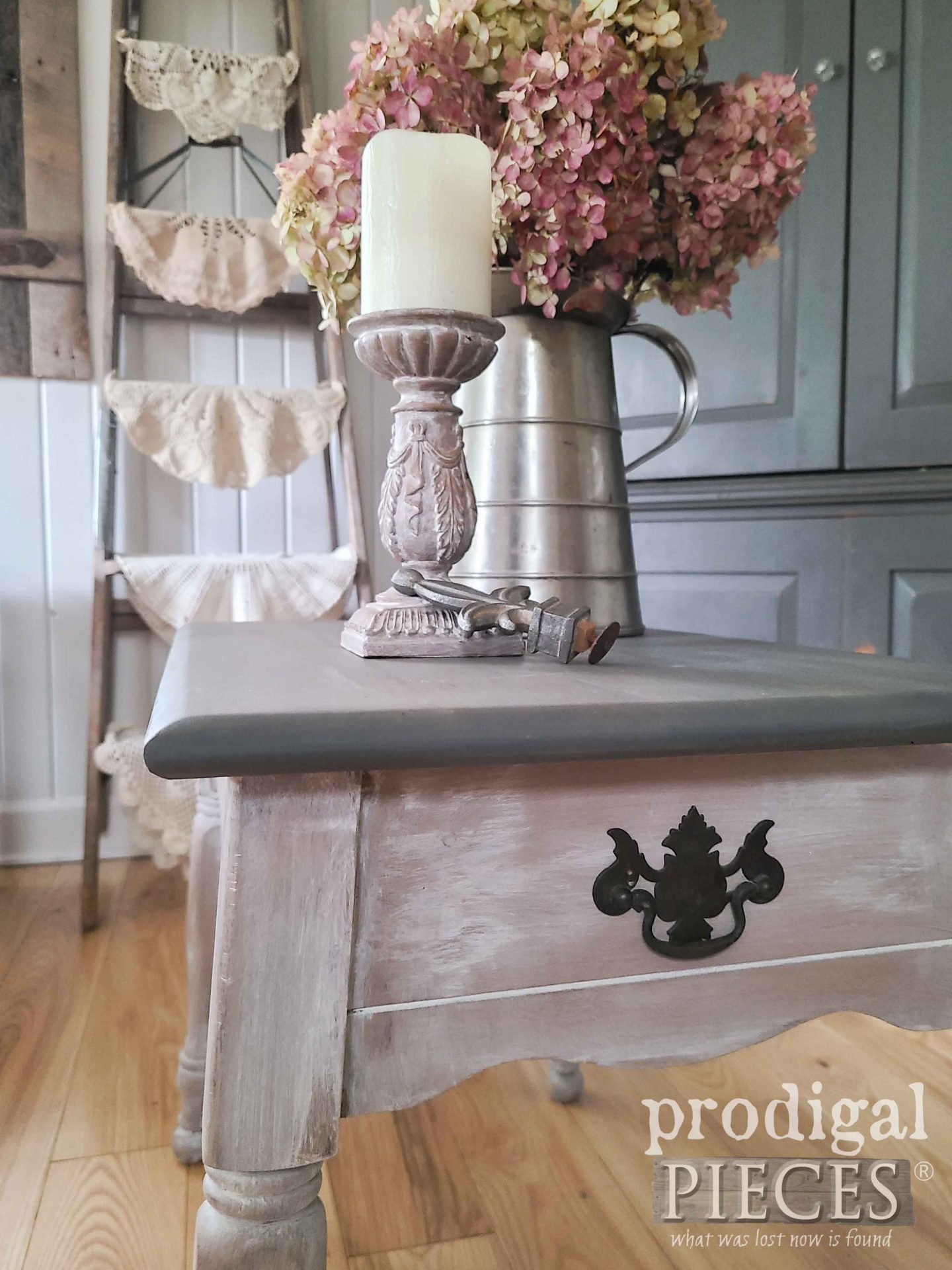 Vintage Farmhouse Table with Stained Top by Larissa of Prodigal Pieces | prodigalpieces.com #prodigalpieces #farmhouse #furniture