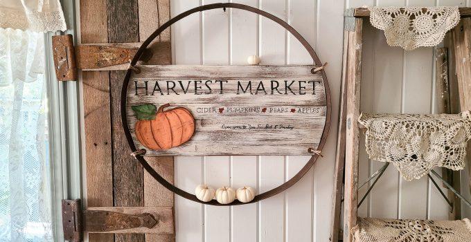 Reclaimed Whiskey Barrel Ring Fall Art