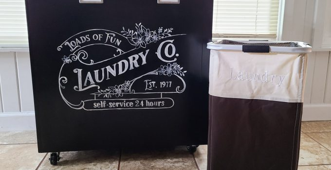 Upcycled Filing Cabinet into Portable Laundry Bin