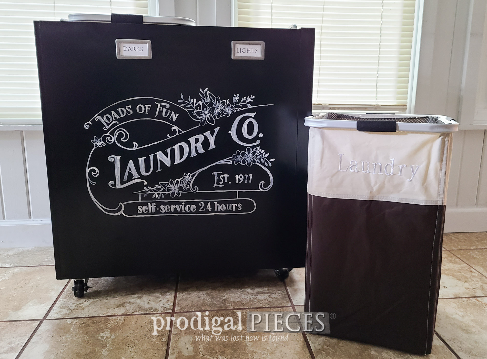Featured Upcycled Filing Cabinet into Portable Laundry Bin | prodigalpieces.com #prodigalpieces #diy #upcycled #laundry #home