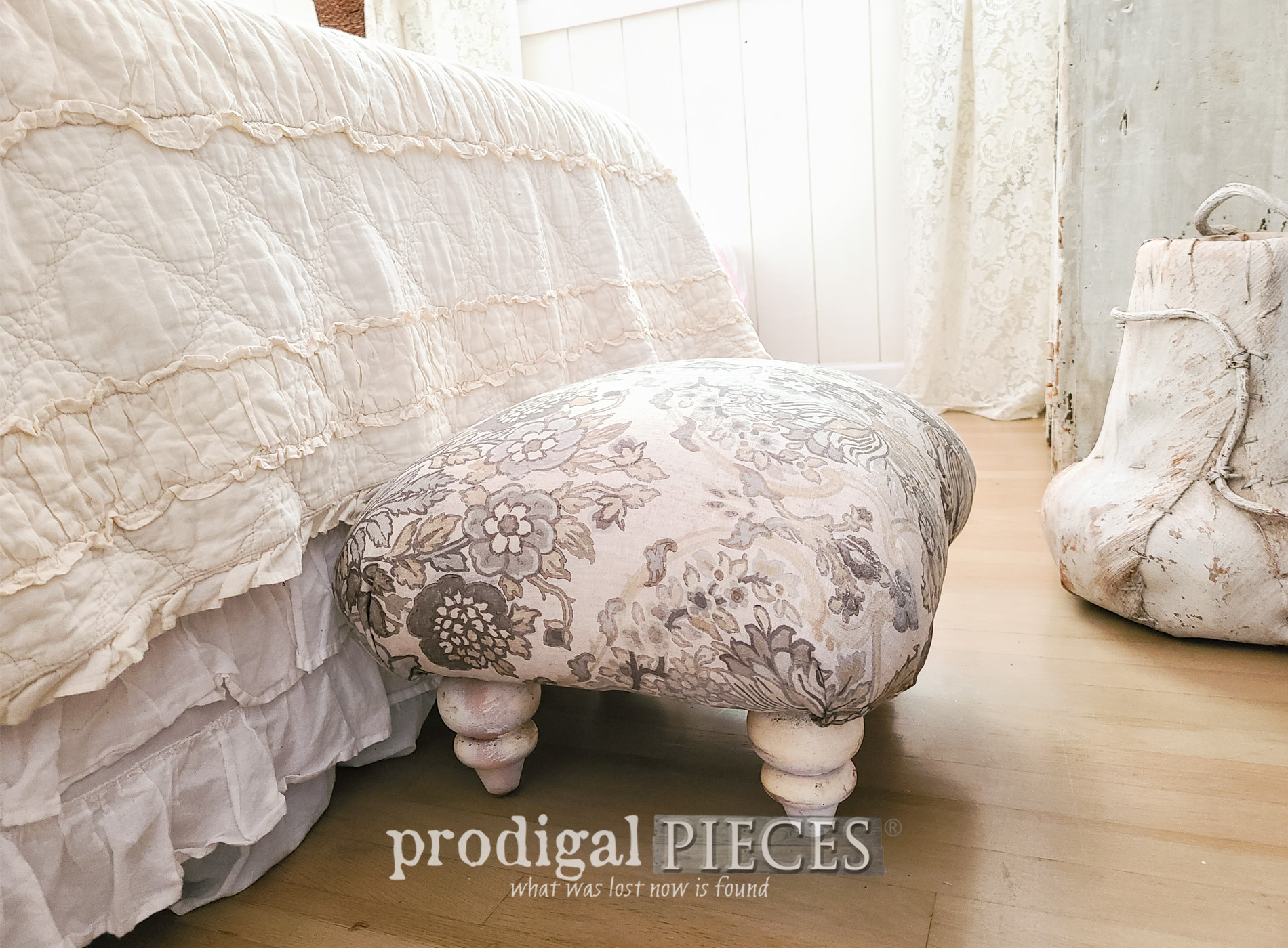Featured Upcycled Ottoman Handmade with Linen Upholstery by Larissa of Prodigal Pieces | prodigalpieces.com #prodigalpieces #furniture #handmade #diy