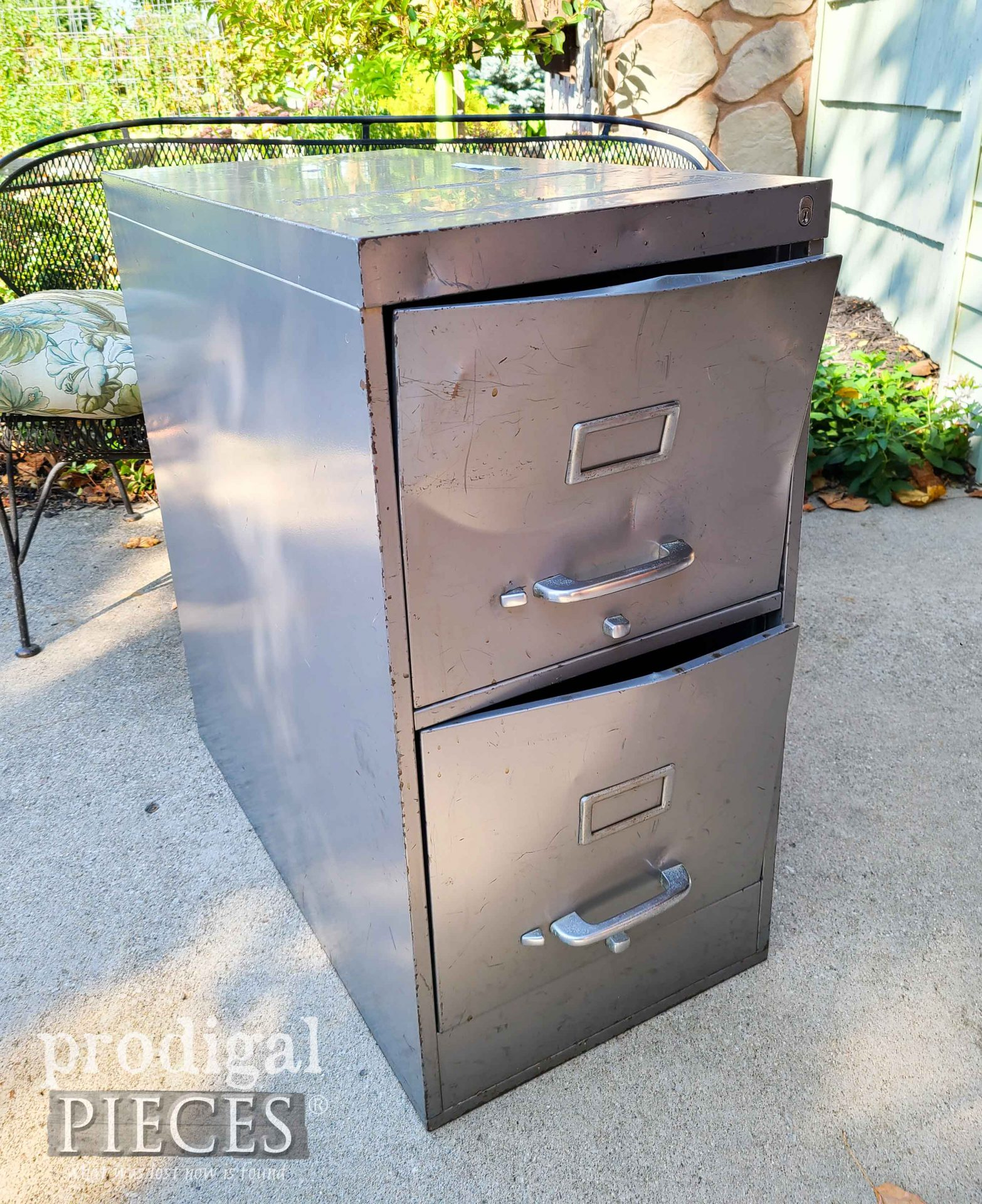 Vintage Industrial Filing Cabinet Before Upcycle by Larissa of Prodigal Pieces   prodigalpieces.com