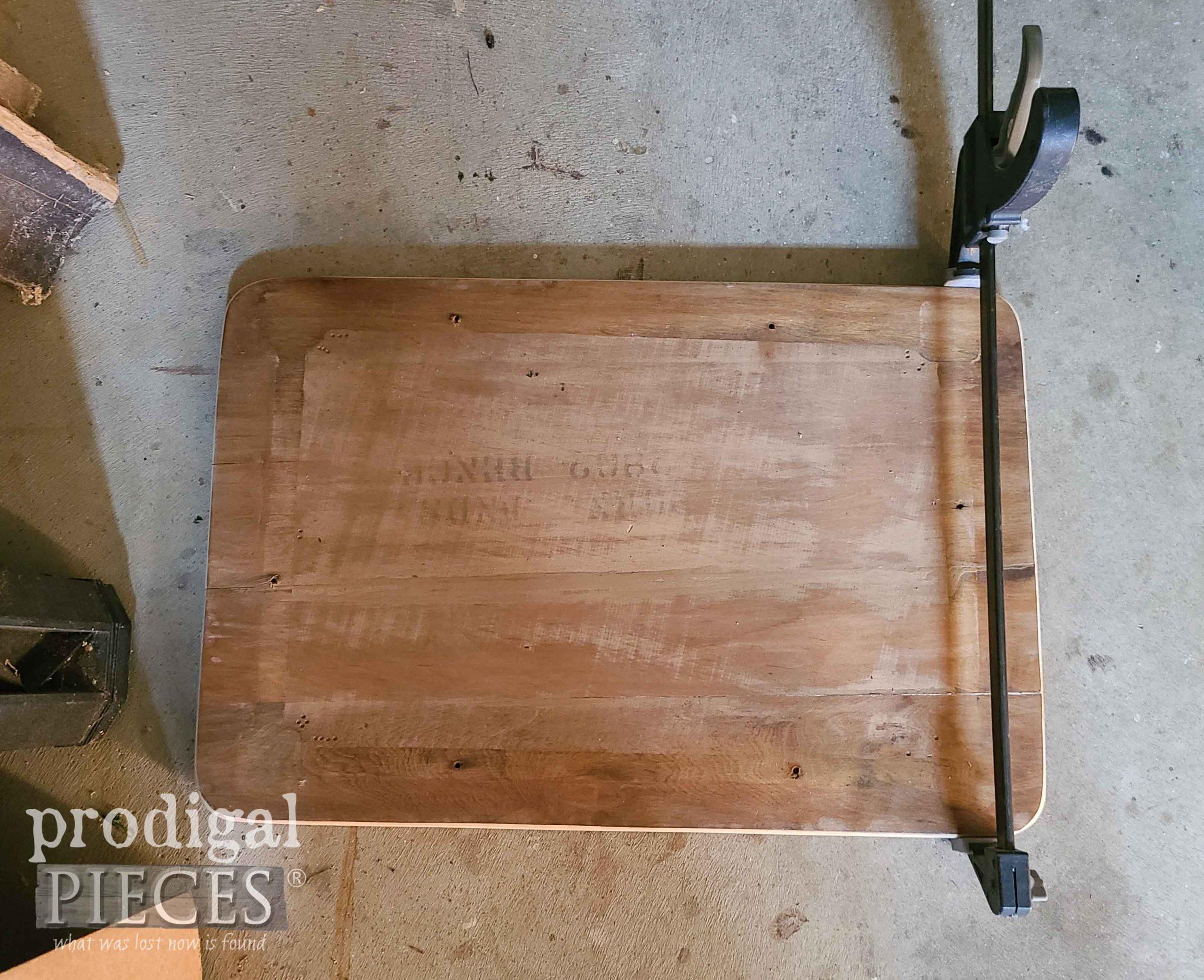 Gluing Mid Century Modern Bench Top | prodigalpieces.com