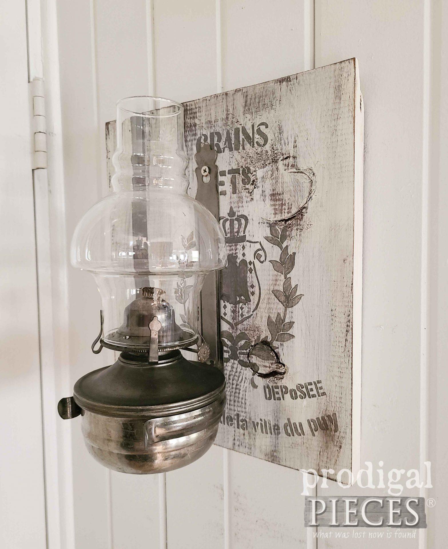 DIY Farmhouse Grain Sack OIl Lamp Art by Larissa of Prodigal Pieces   prodigalpieces.com #prodigalpieces #farmhouse#diy