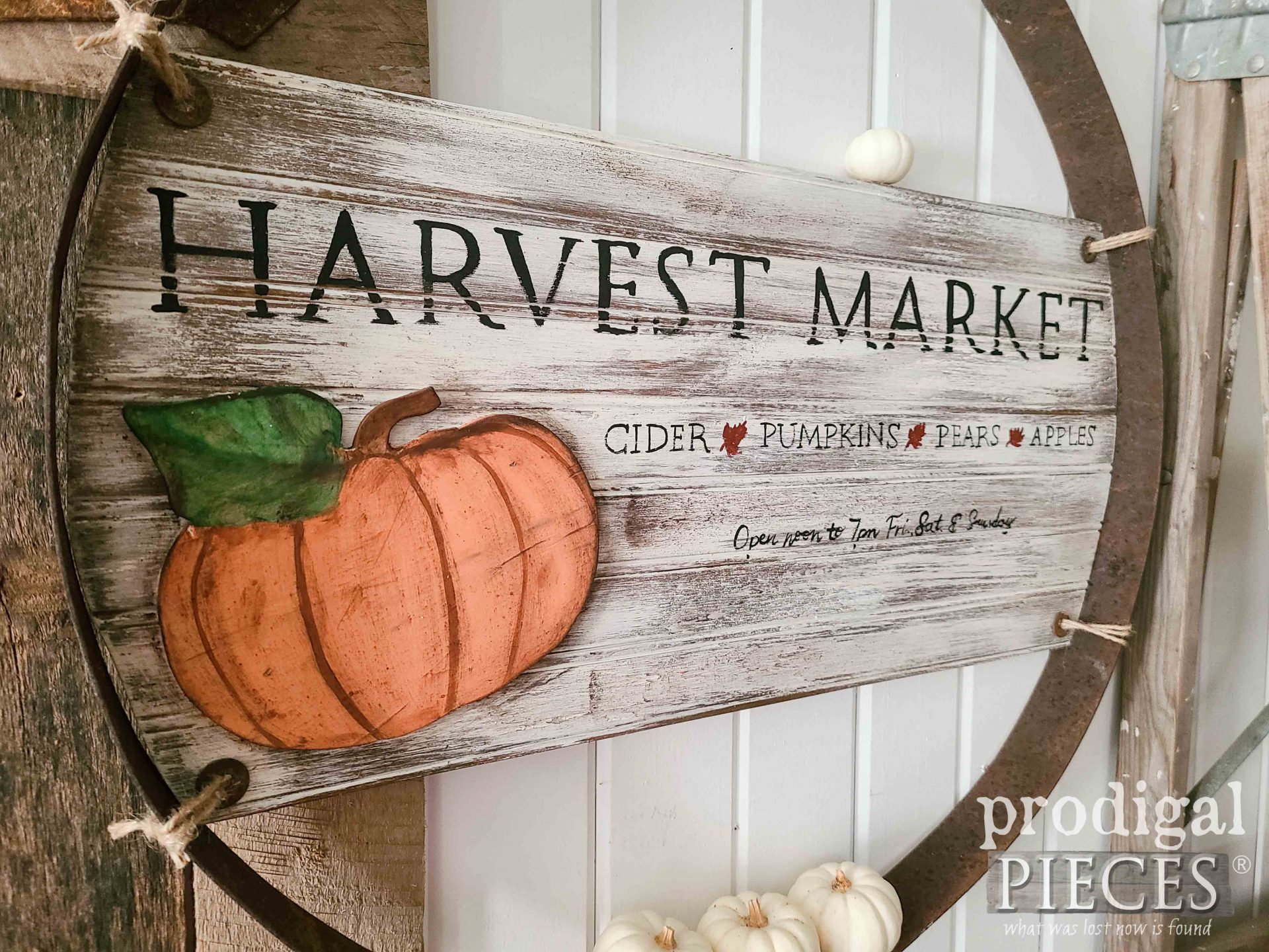 DIY Handmade Harvest Sign in Reclaimed Whiskey Barrel Ring by Larissa of Prodigal Pieces | prodigalpieces.com #prodigalpieces #harvest #home #diy #farmhouse