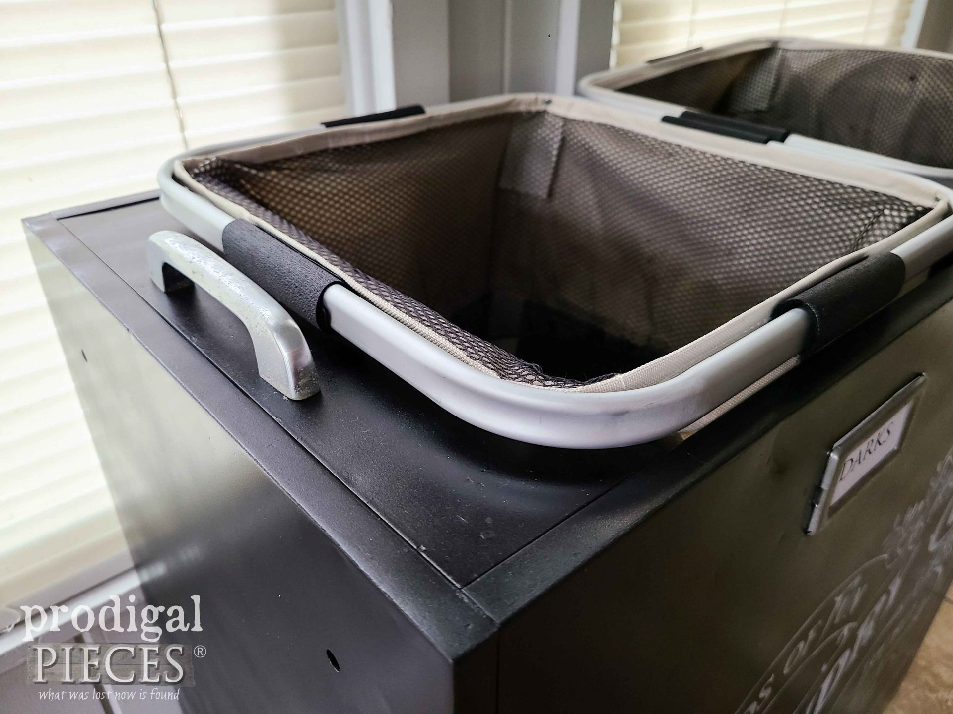 Upcycled Filing Cabinet Drawer Pull on Portable Laundry Bin by Larissa of Prodigal Pieces   prodigalpieces.com #prodigalpieces #repurposed #laundry #diy