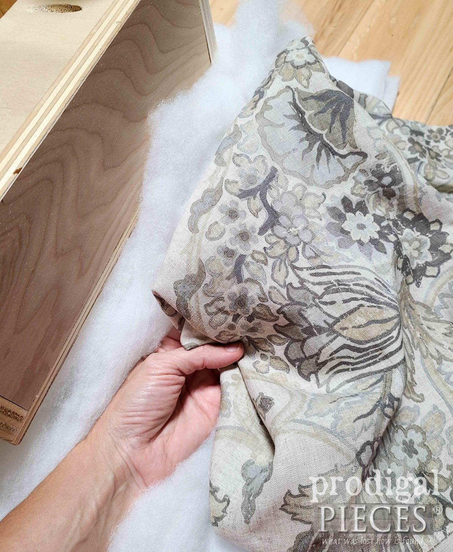 Gorgeous Linen Upholstery for Upcycled Ottoman Build by Prodigal Pieces | prodigalpieces.com