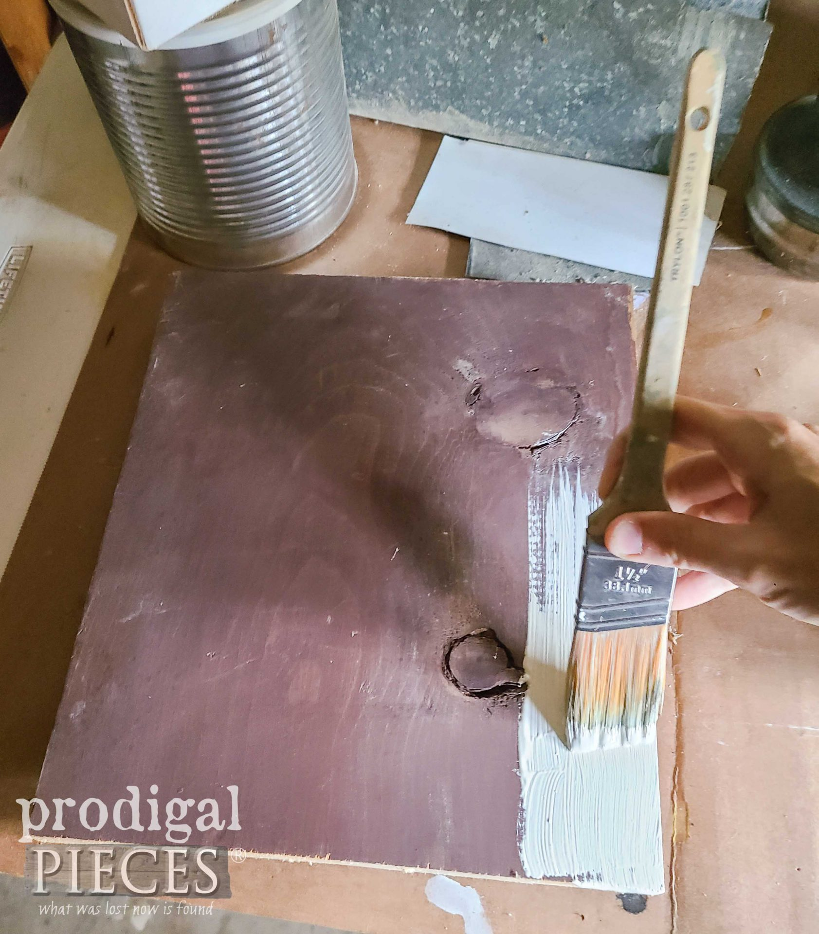 Painting Scrap Wood Board White for Rustic Chic Home Decor   prodigalpieces.com
