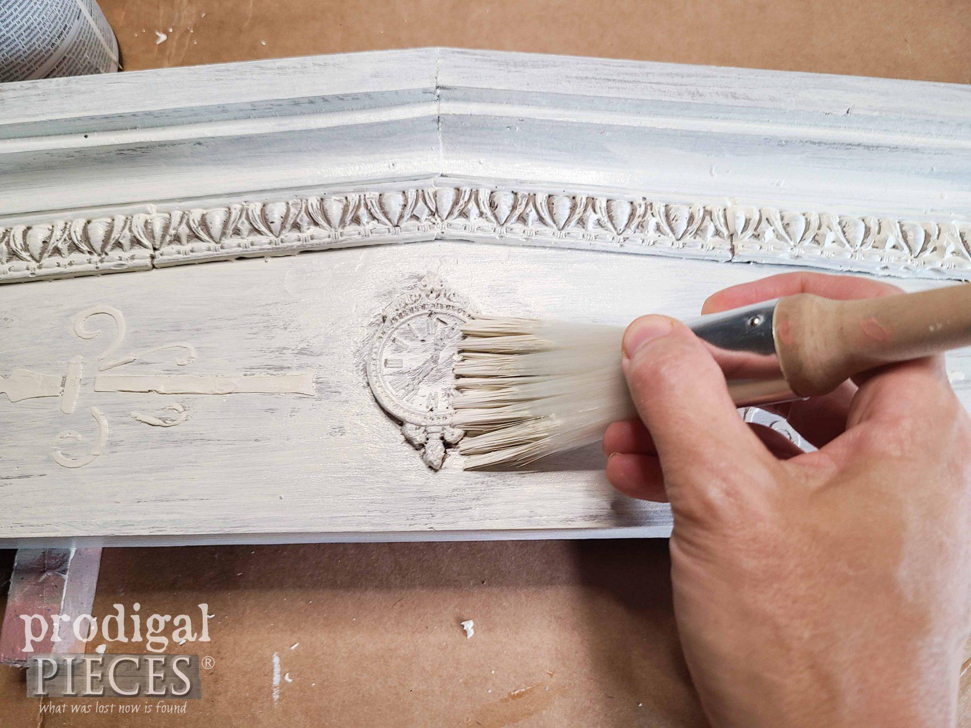 Painting Top White Layer on Farmhouse Pediment | prodigalpieces.com