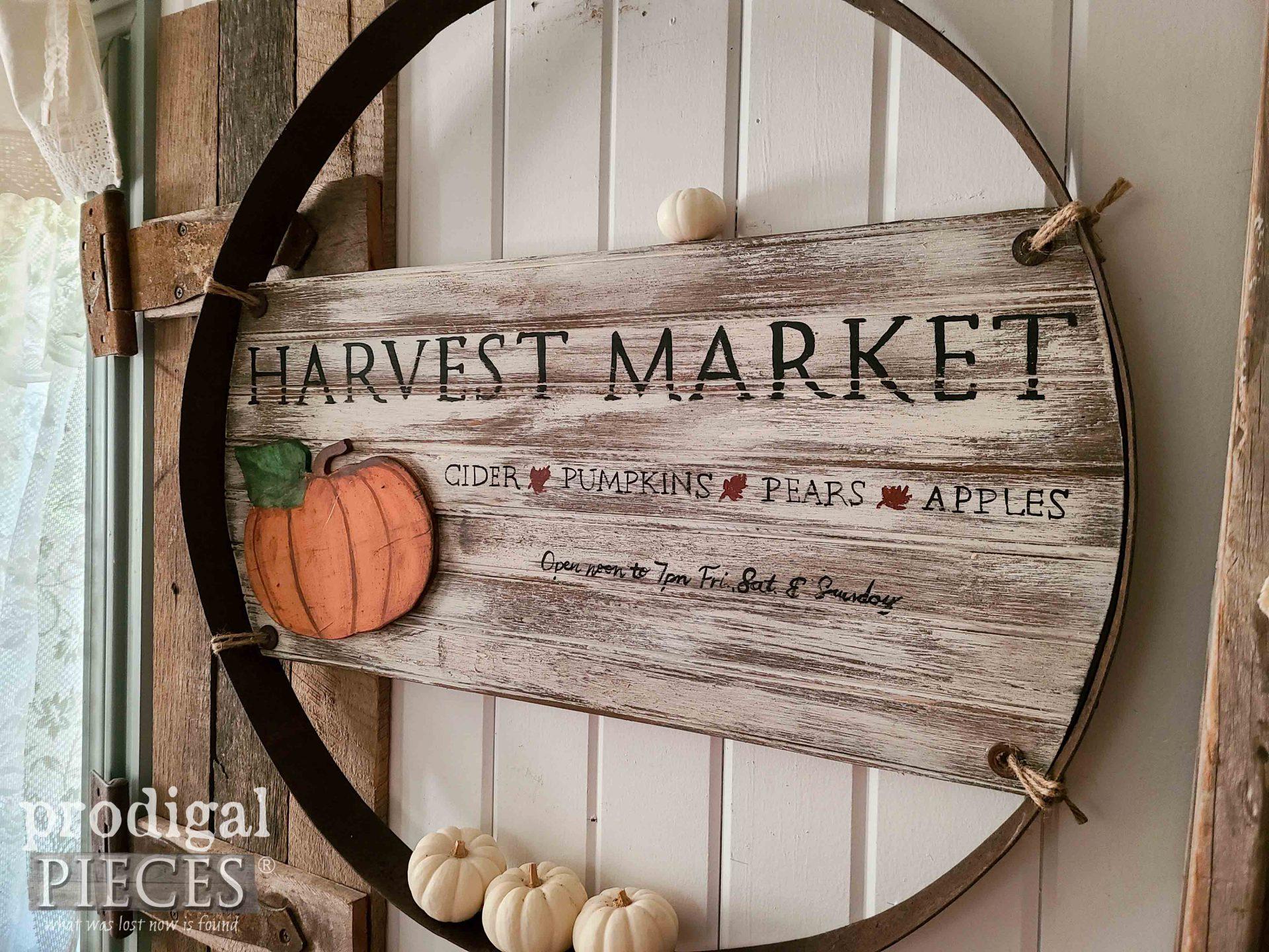 Farmhouse Fall Sign from Reclaimed Whiskey Barrel for Fall Wall Art by Larissa of Prodigal Pieces | prodigalpieces.com #prodigalpieces #reclaimed #fall #autumn #pumpkin #handmade #art