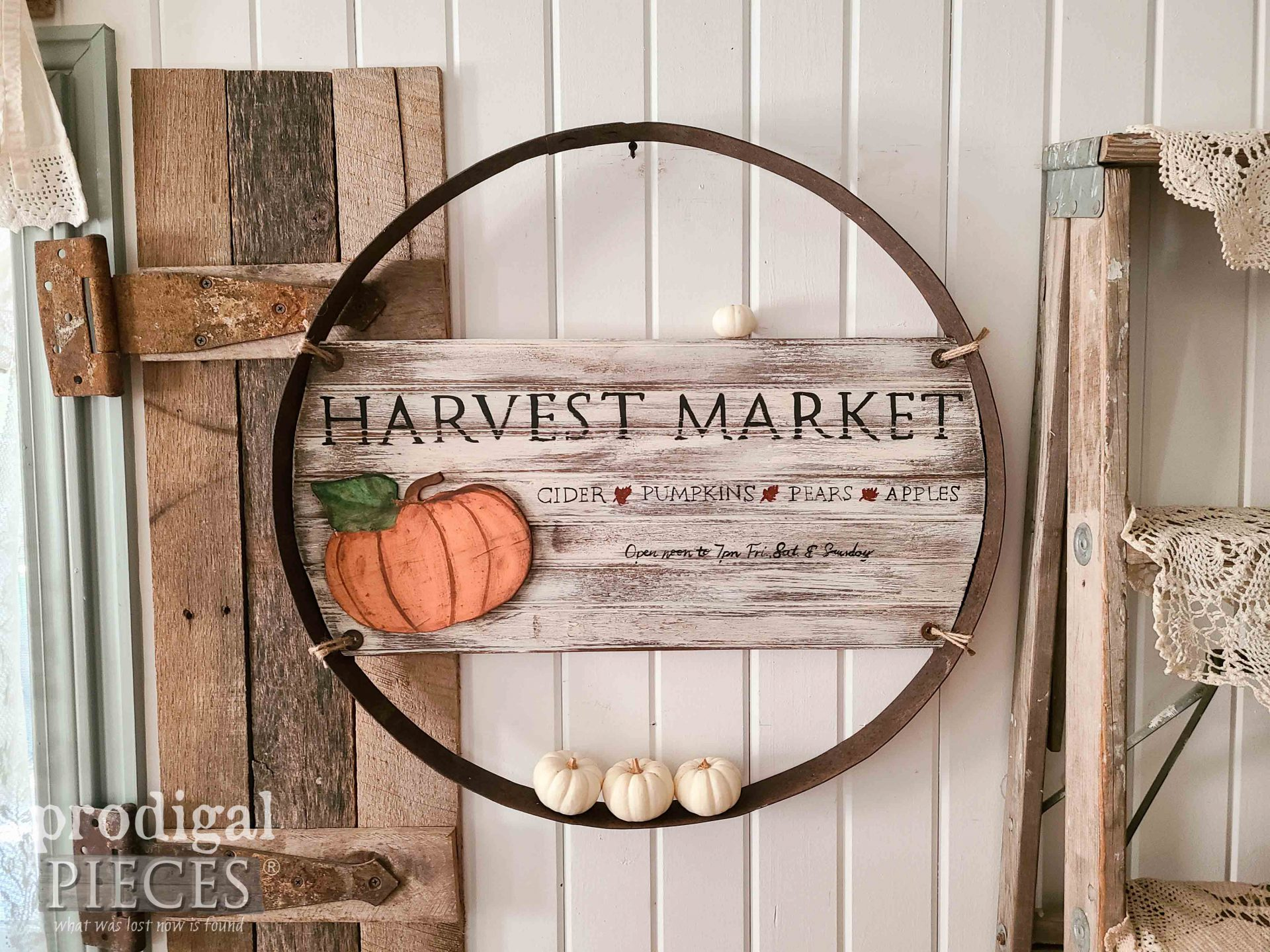Farmhouse Harvest Market Sign in Reclaimed Whiskey Barrel Ring by Larissa of Prodigal Pieces | prodigalpieces.com #prodigalpieces #recalimed #home #harvest #diy