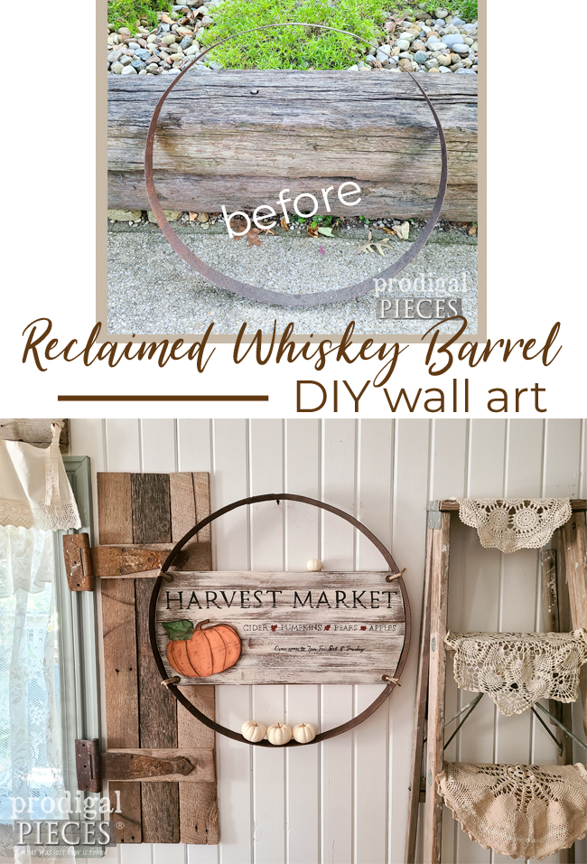 Create your own fall art using a reclaimed whiskey barrel ring | DIY details at Prodigal Pieces | prodigalpieces.com #prodigalpieces #reclaimed #fall #farmhouse #home #diy