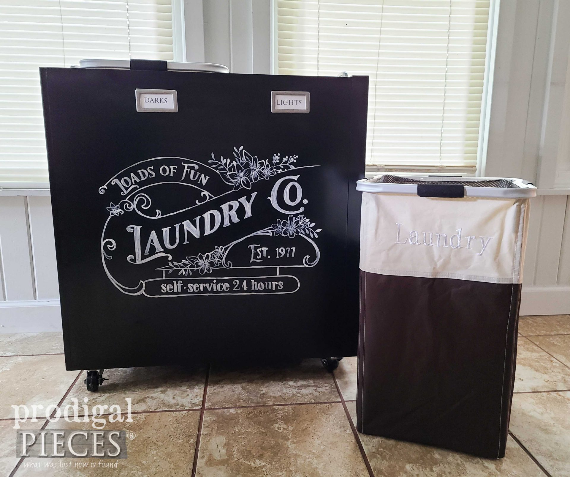 Repurposed Filing Cabinet Turned Rolling Laundry Bin by Larissa of Prodigal Pieces   prodigalpieces.com #prodigalpieces #laundry #repurposed #upcycled