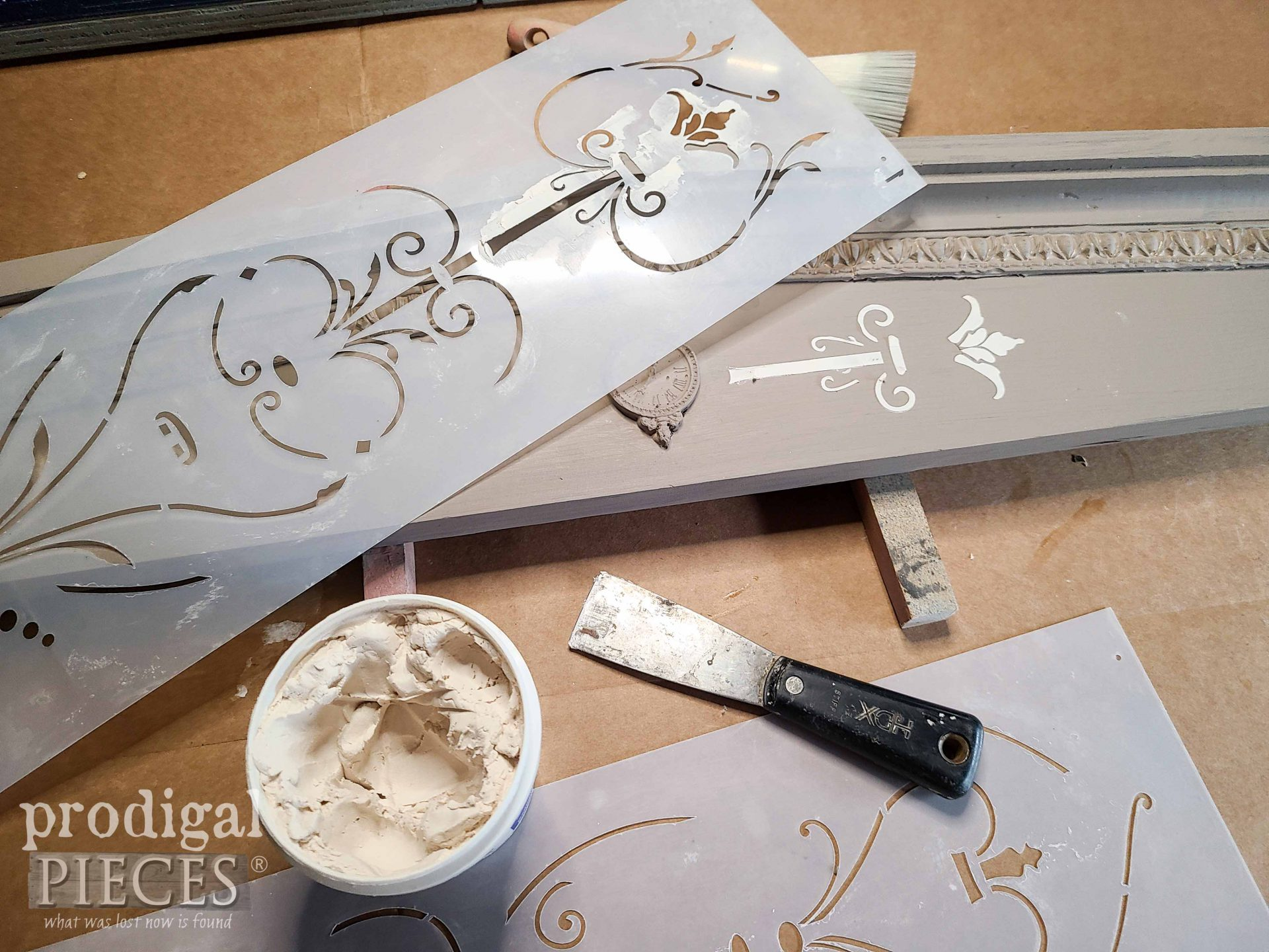 DIY Embossing Using Stencils and Spackling by Larissa of Prodigal Pieces | prodigalpieces.com
