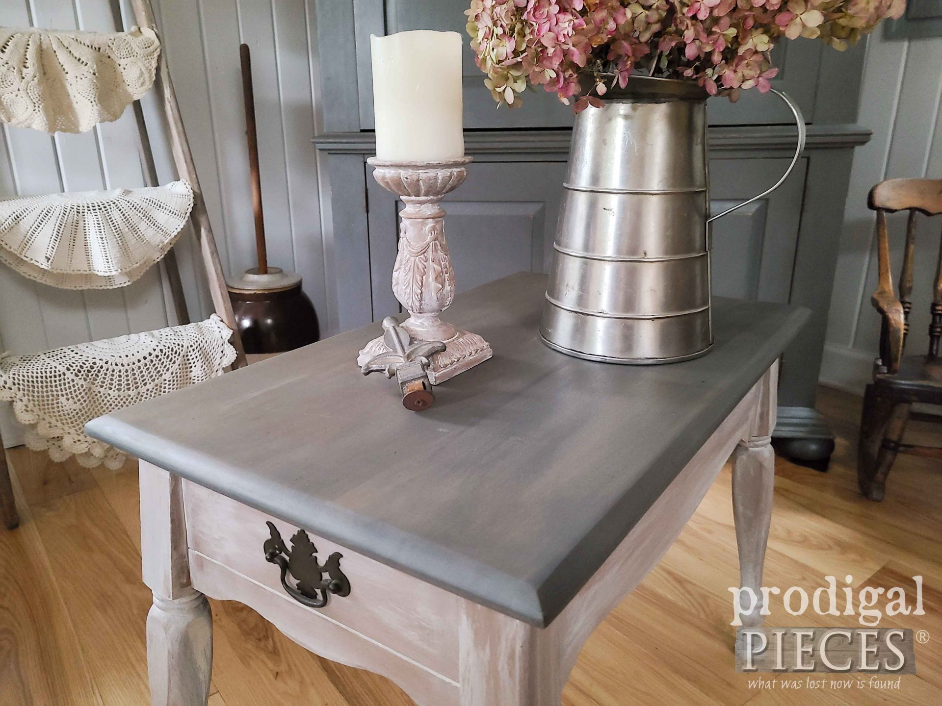 Stained Gray Vintage Farmhouse Table Top by Larissa of Prodigal Pieces | prodigalpieces.com #prodigalpieces #furniture #diy #home #vintage