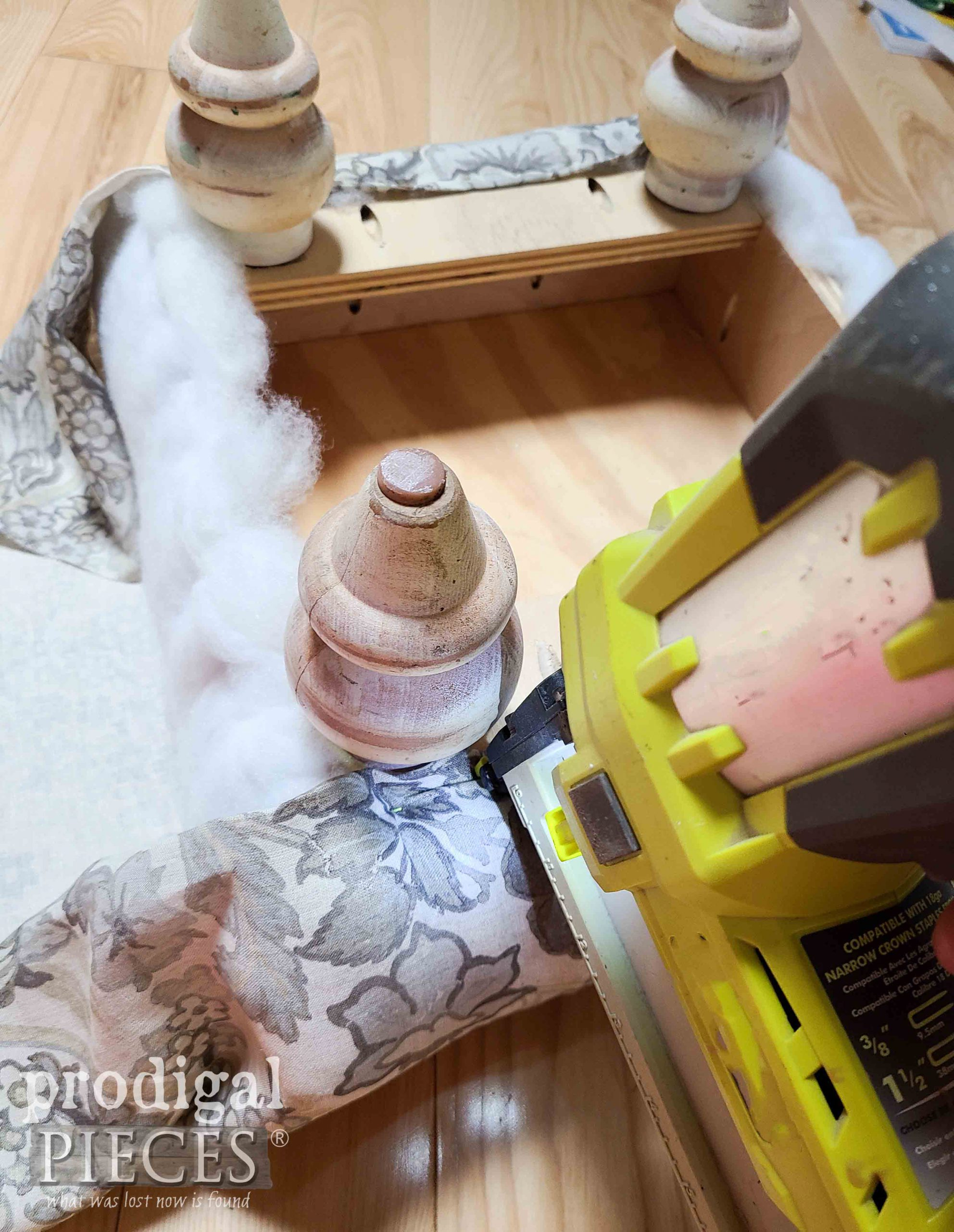 Stapling Upholstery to Upcycled Ottoman | prodigalpieces.com #prodigalpieces