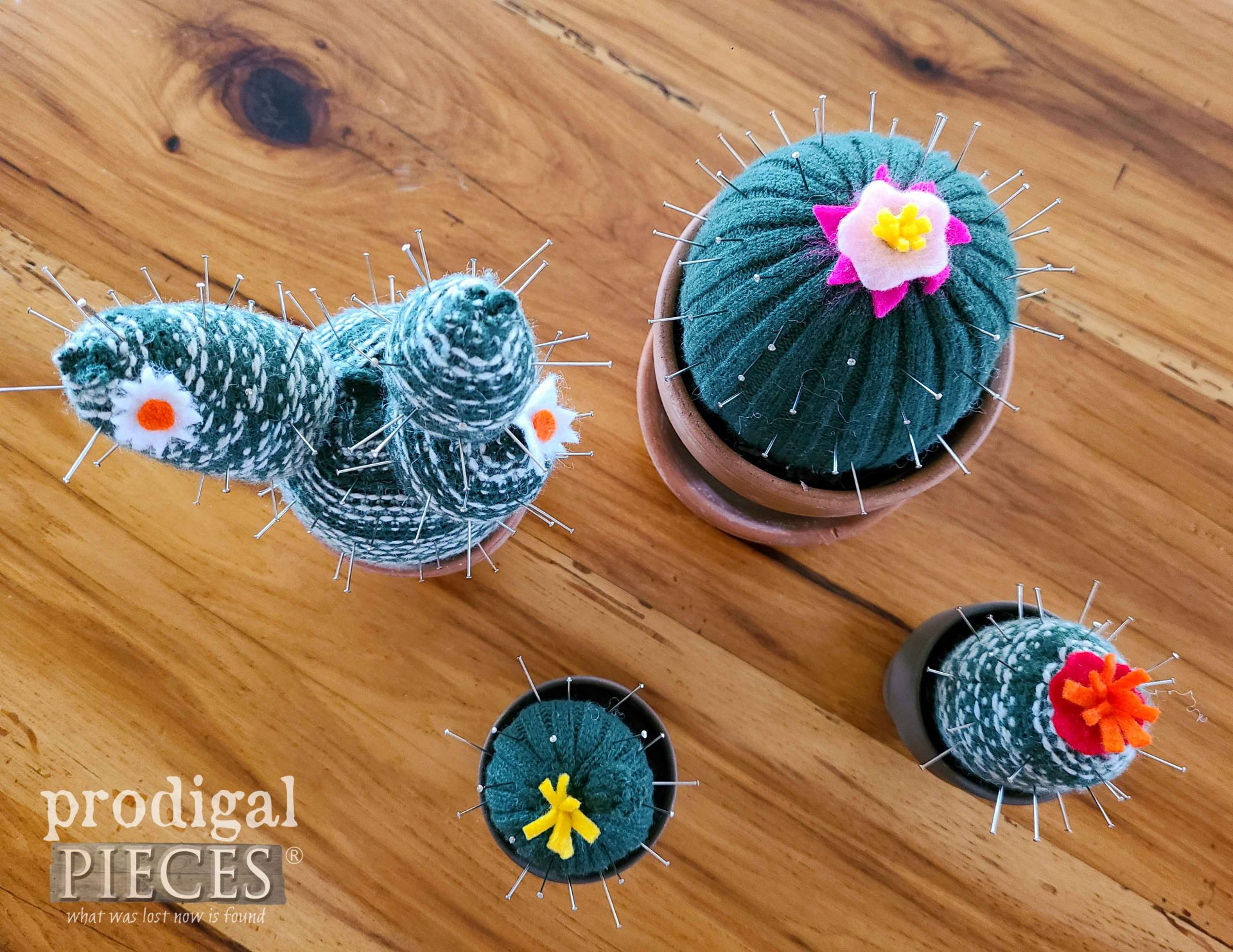 Top View of Upcycled Sweater Pincushions by Larissa of Prodigal Pieces | prodigalpieces.com #prodigalpieces #crafts #handmade #sewing #refashion