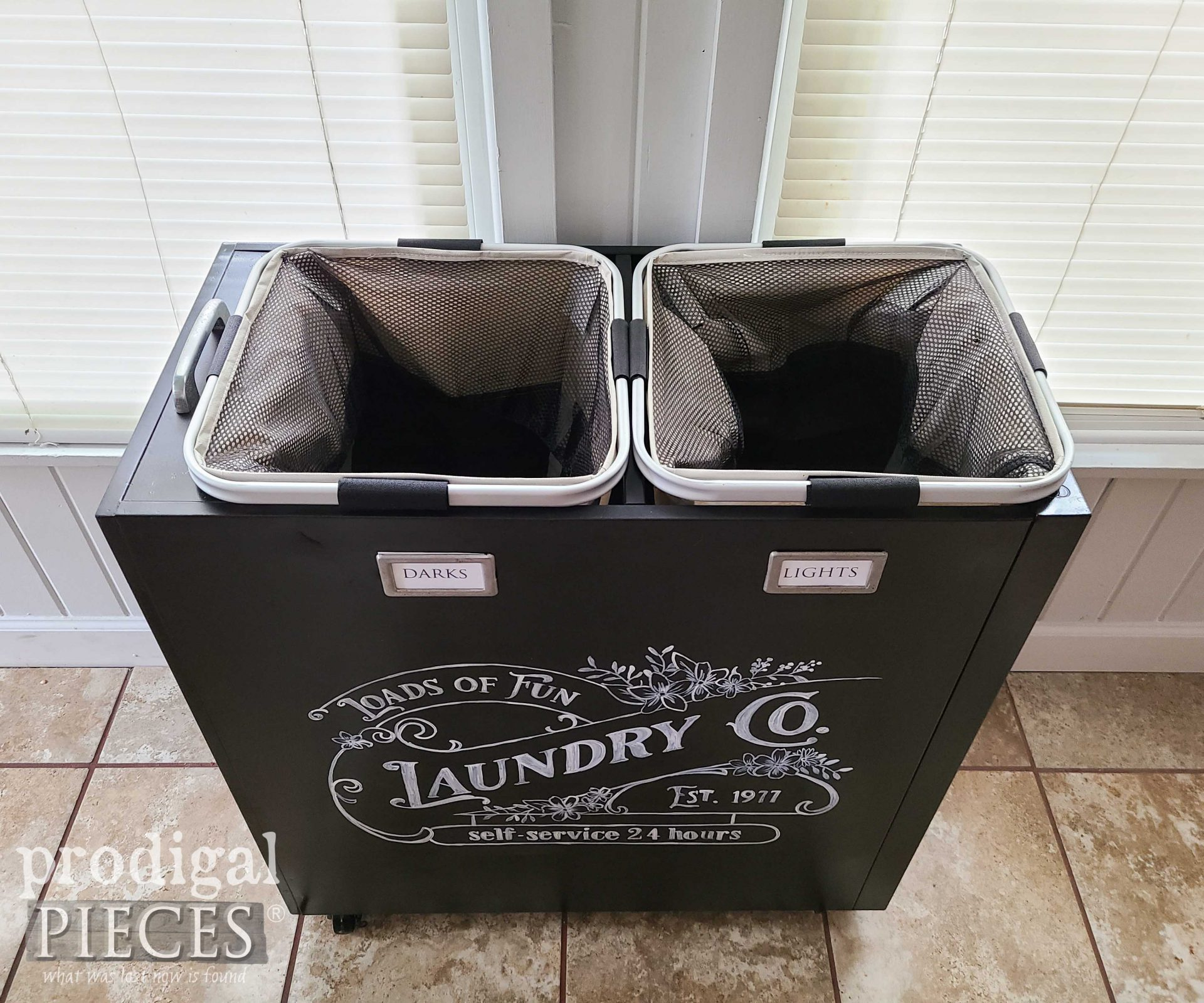 Top View of Upcycled Laundry Bin by Larissa of Prodigal Pieces   prodigalpieces.com #prodigalpieces #laundry #diy