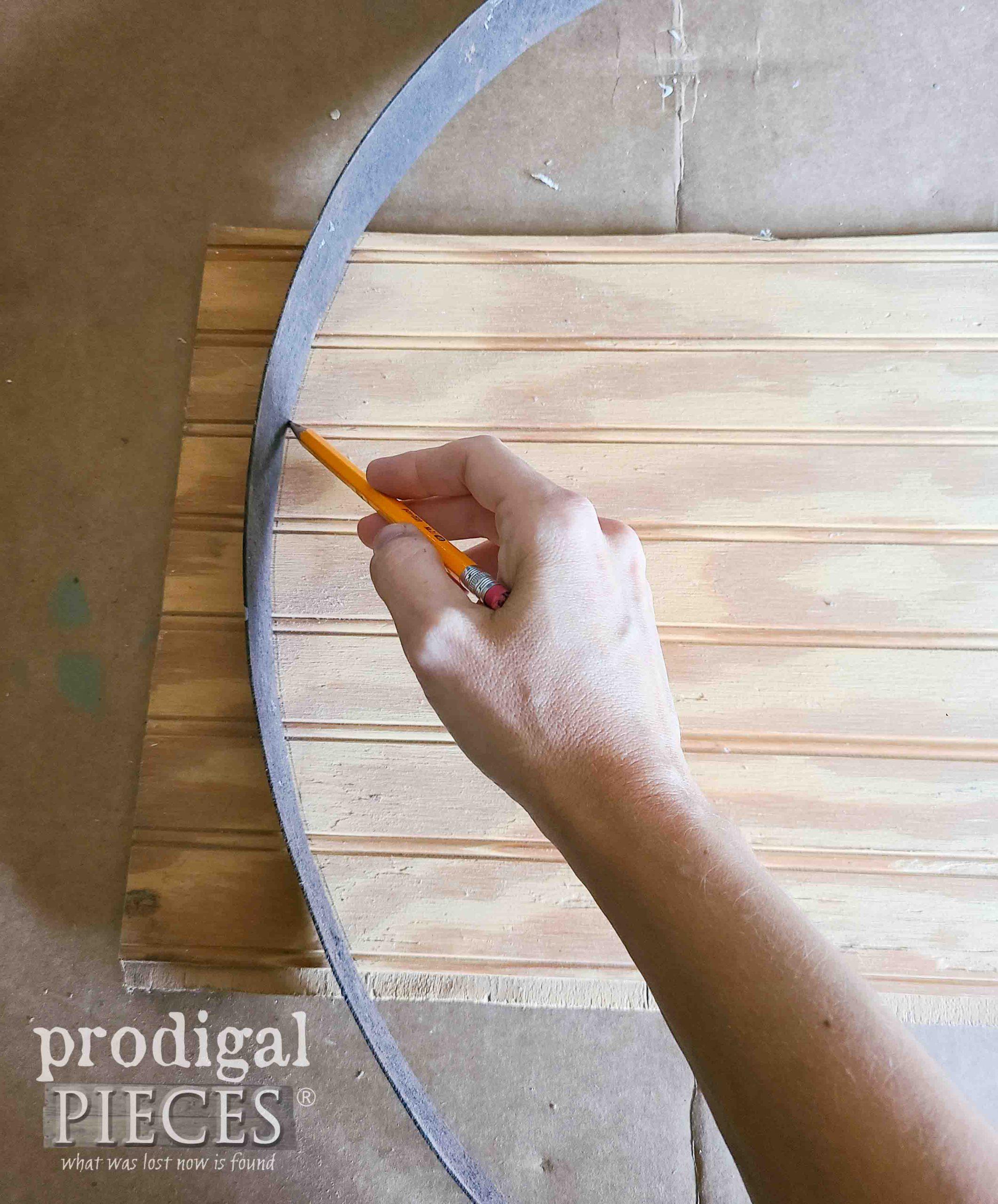 Tracing Barrel Ring onto Scrap Bead-Board | prodigalpieces.com #prodigalpieces