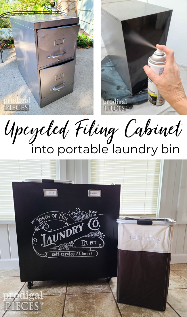 Upcycled Filing Cabinet is Transformed into a Portable Laundry Bin by Larissa of Prodigal Pieces   prodigalpieces.com #prodigalpieces #farmhouse #industrial #laundry #upcycled