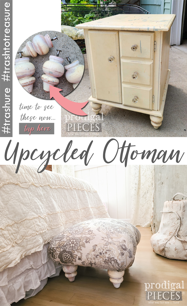 Feet of a vintage side table are upcycled into an ottoman handmade by Larissa of Prodigal Pieces | prodigalpieces.com #prodigalpieces #furniture #diy #upcycled #home