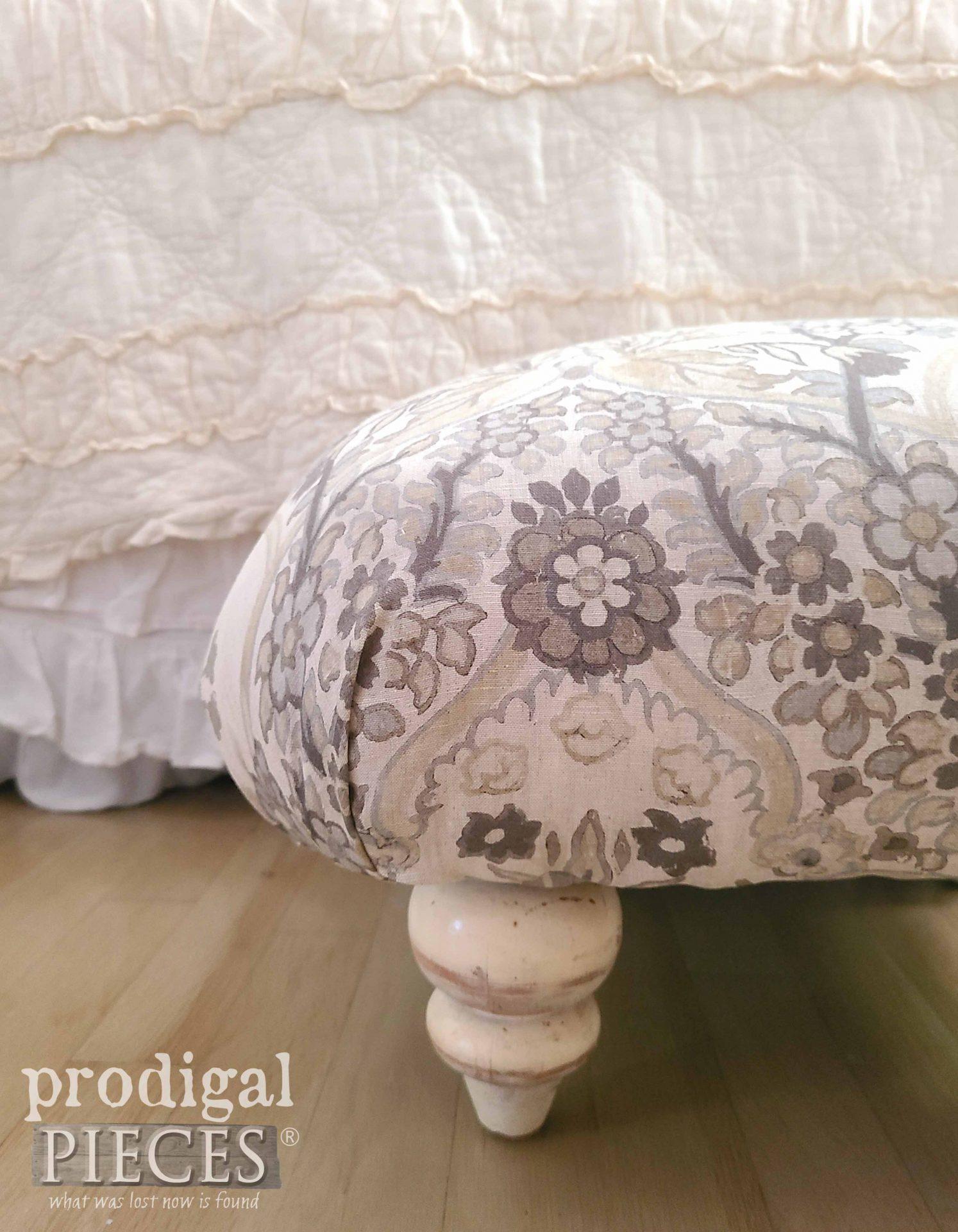 Upholstered Linen Ottoman Handmade by Larissa of Prodigal Pieces | prodigalpieces.com #prodigalpieces #handmade #furniture #home #homedecor