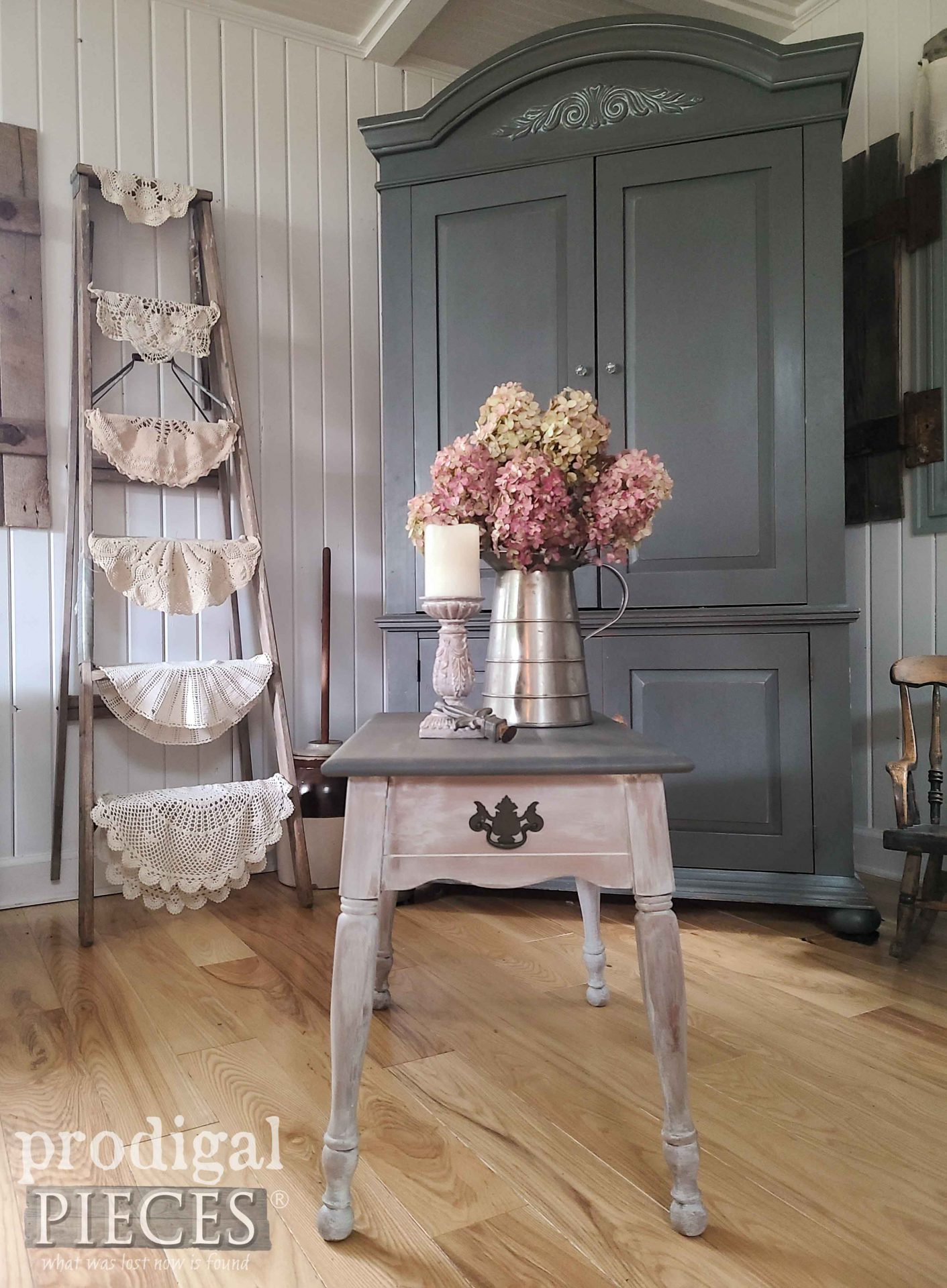 Vintage Side Table with Whitewash by Larissa of Prodigal Pieces | prodigalpieces.com #prodigalpieces #vintage #furniture
