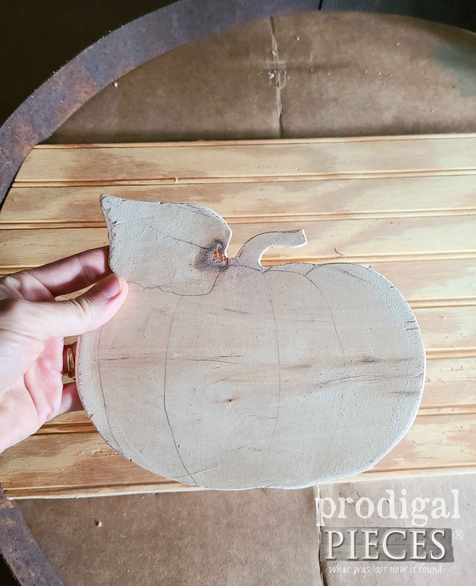 Wood Cut-OUt Pumpking for DIY Fall Harvest Sign from Reclaimed Whiskey Barrel Ring | prodigalpieces.com