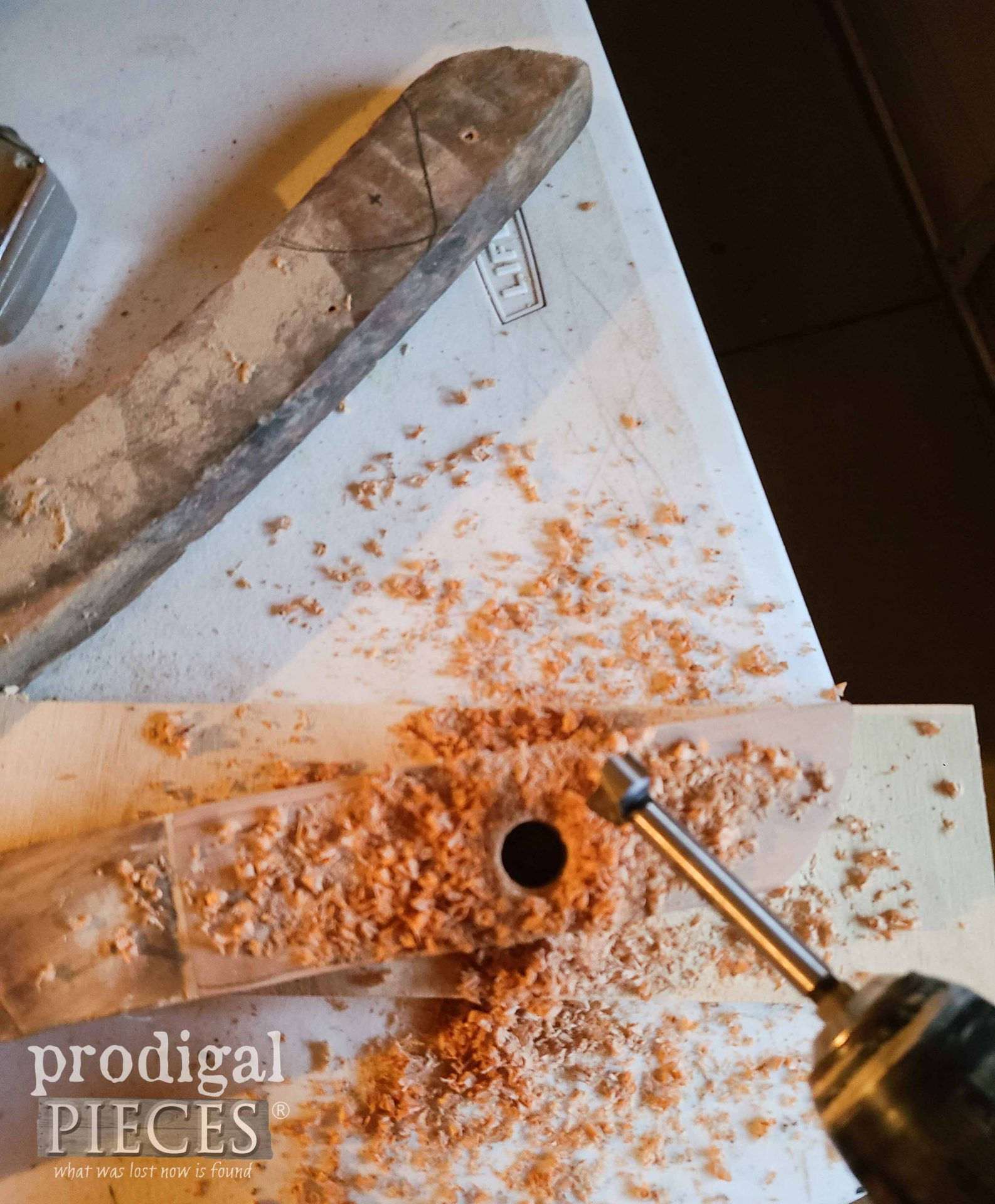 Drilling Rockers with Forstner Bit for Antique Rocking Horse | prodigalpieces.com