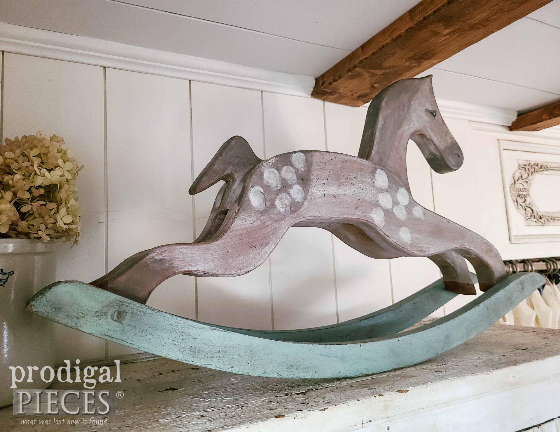 Dappled Gray Farmhouse Antique Rocking Horse by Larissa of Prodigal Pieces | prodigalpieces.com #prodigalpieces #horse #diy #handmade