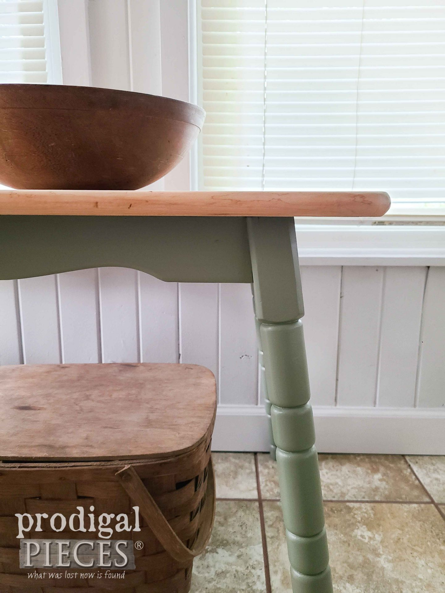 Mini Farmhouse Table Closeup by Prodigal Pieces   prodigalpieces.com #prodigalpieces #furniture #rustic #cottage
