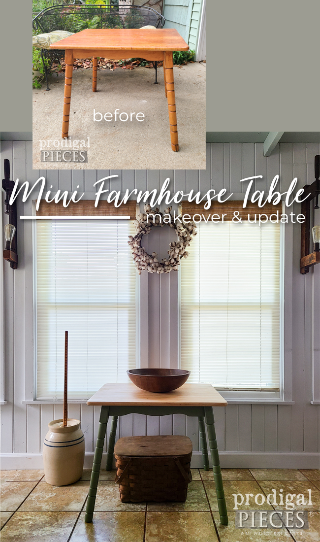 Dated and damaged, this vintage mini farmhouse table gets an update to see by Larissa of Prodigal Pieces   prodigalpieces.com #prodigalpieces #furniture #home #diy #farmhouse
