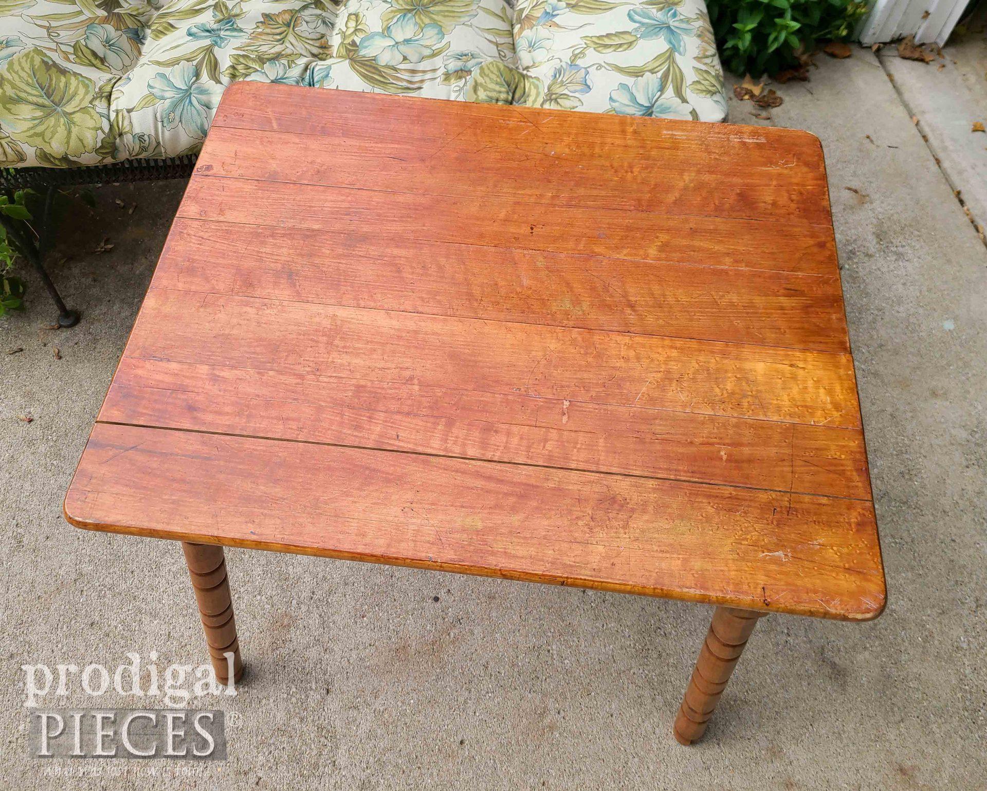 Mini Farmhouse Table Top Before   prodigalpieces.com #prodigalpieces