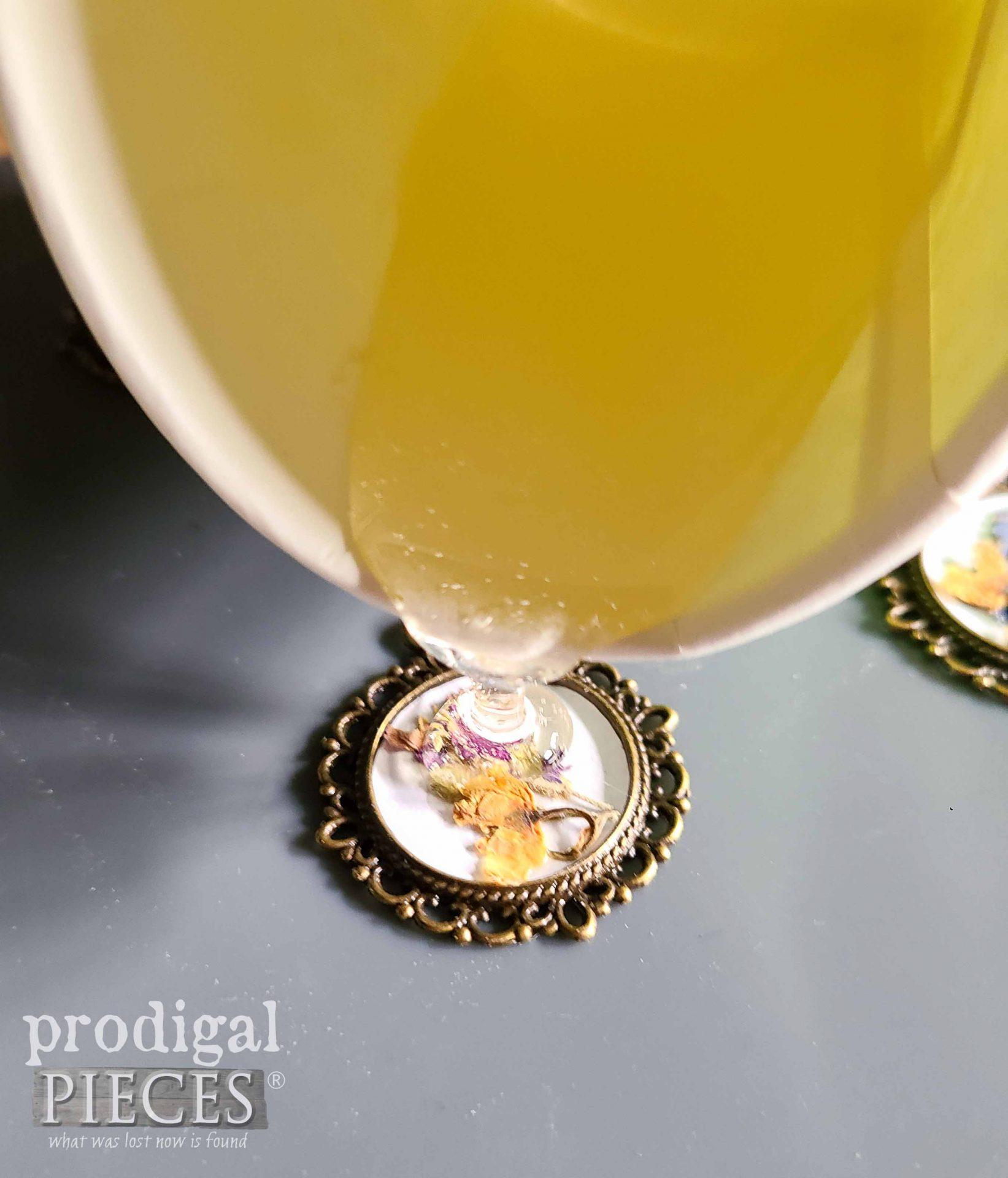Pouring Epoxy Resin into Jewelry Bezel   prodigalpieces.com