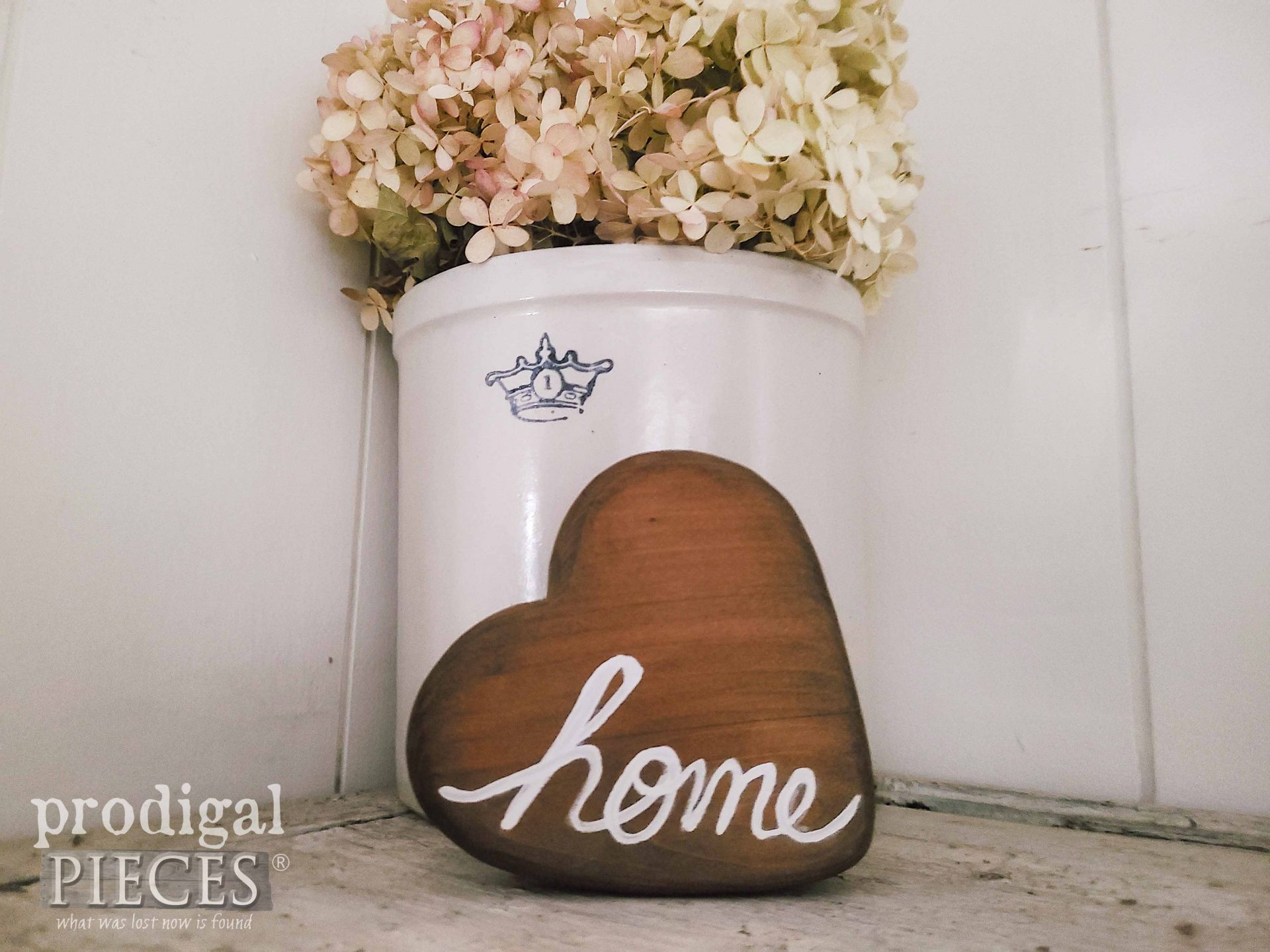 DIY Script Home Wooden Heart with Antique Rocking Horse by Larissa of Prodigal Pieces | prodigalpieces.com #prodigalpieces #diy #crafts #home