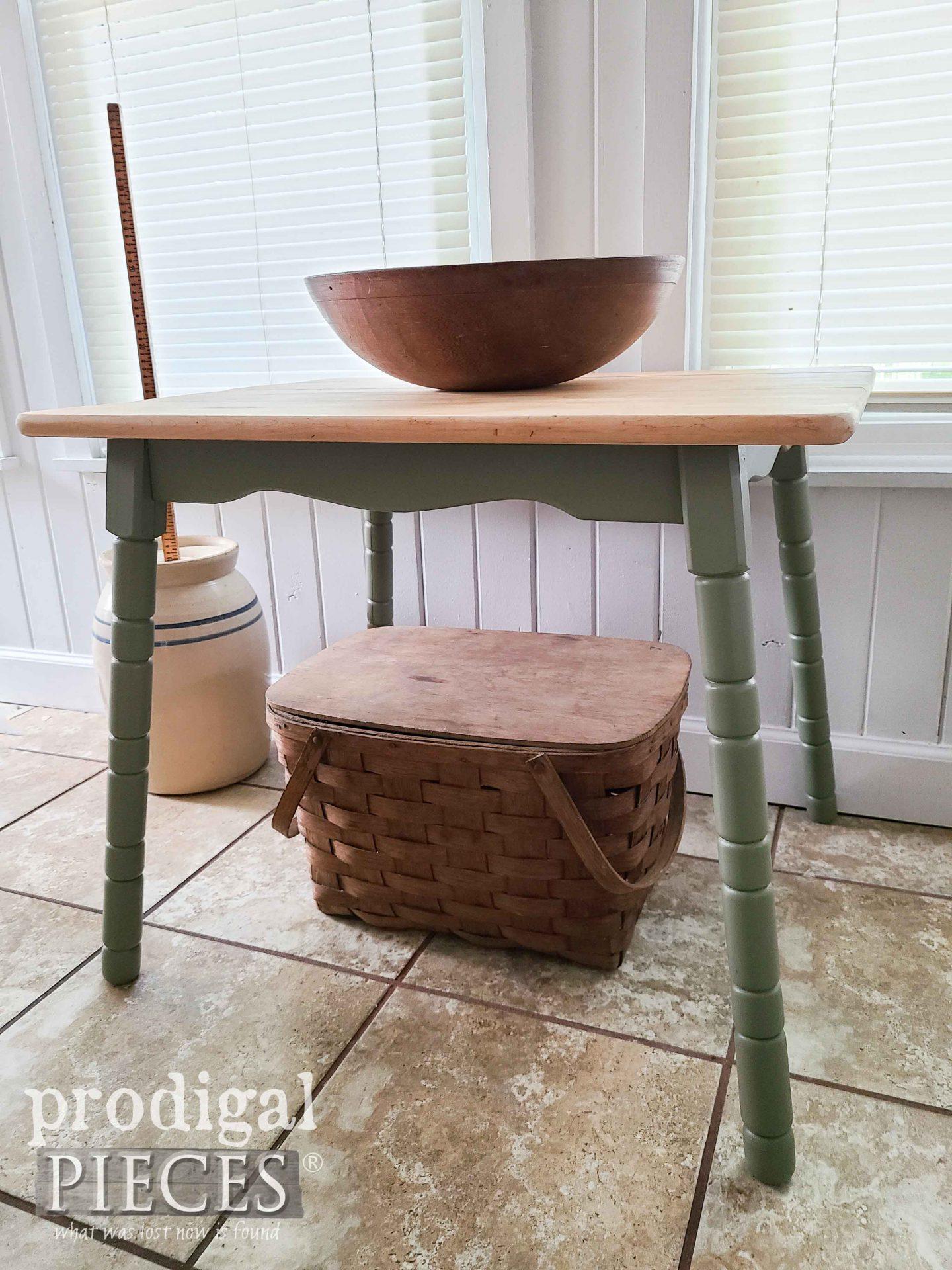 Turned Vintage Table Legs on Mini Farmhouse Table by Prodigal Pieces   prodigalpieces.com #prodigalpieces #farmhouse #diy #home #homedecor