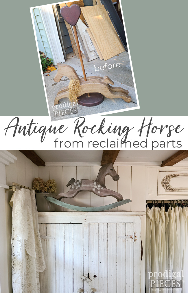 A dated & damaged handmade carousel horse is reclaimed into an antique rocking horse by Larissa of Prodigal Pieces | prodigalpieces.com #prodigalpieces #farmhouse #antique #home #diy